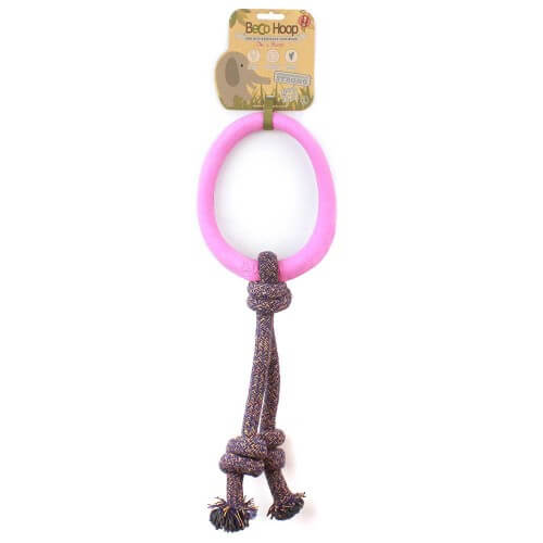 BECO NATURAL RUBBER HOOP ON ROPE PINK SMALL 1